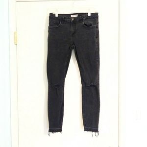 Zara Dark Grey Distressed Raw Hem Jeans